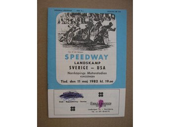 Program Speedway Landskamp Svergie-USA 11/5 1982 Norrköping