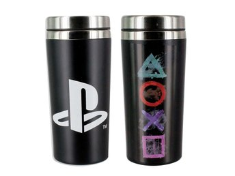 PLAYSTATION TERMOS RESEMUGG (Nytt) Merchandise Sony 1 PS1 PS2 PS3 PS4 Travel Mug