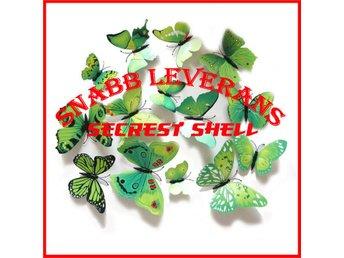 12 st 3D Fjärilar - Väggdekor - Grön ( Leveranstid 2 dagar ) - Shenzhen - 12 st 3D Fjärilar - Väggdekor - Grön ( Leveranstid 2 dagar ) - Shenzhen