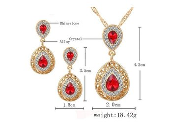 2015 New Women Jewelry Set Gold Plated With Austrian Crystal Pendant/Earrings