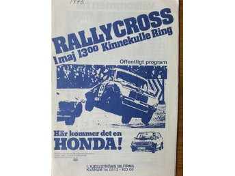 Program: RALLYCROSS Kinnekulle Ring 1/5 1975. Svenska eliten. BRA SKICK