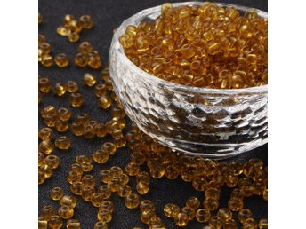 Seed Beads Transparent Guld 6/0 - 4 MM