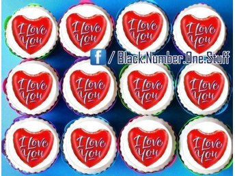 I love you tårtoblater - Cupcake / Muffin kakor toppers