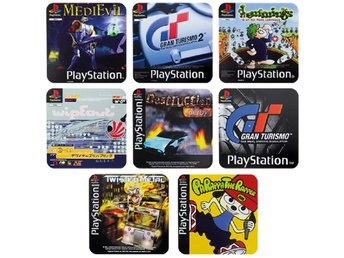 PLAYSTATION PS1 SPEL UNDERLÄGG 4-PACK (Nytt) Merchandise Sony Coasters 1 PSX