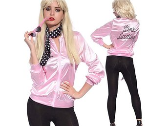abff20873f71 Ladies 50S Grease T Bird Danny Pink Satin Jacket Halloween Costume L/38