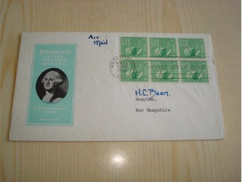 Presidents of the United States George Washington 1938 USA 6 frimärken FDC