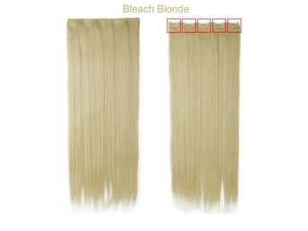 Hår 60 cm Bleach Blonde Hårförlängning Clip On