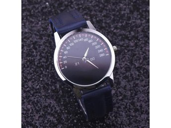 Unisex Fashion Dial Leather Analog Quartz Wrist Watch Klocka