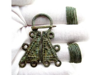 Lot of Medieval Viking period Bronze Penannular Brooch & 2 Coiled Beard Rings -