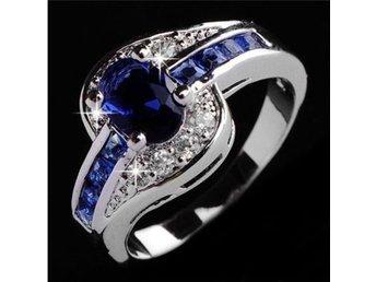 Fashion Women Blue Sapphire Engagement Ring Jewelry storlek 18 - örebro - Fashion Women Blue Sapphire Engagement Ring Jewelry storlek 18 - örebro