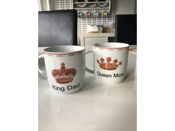 Två muggar Queen Mom King Dad