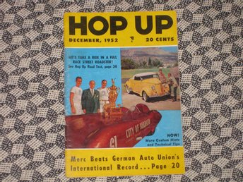 HOP UP Dec 1952 Hot Rod Custom Ford 1936 Cadillac 1949 Ford 1932 Plymouth 1947