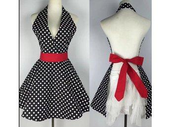 897f27b8eb2d Vintage förkläde 50 tal Rockabilly Swing Retro Prickar svart ...