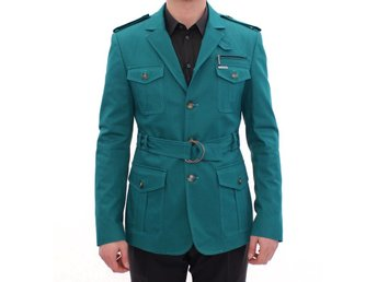 GF Ferre - Turquoise Slim Fit Stretch Jacket Coat