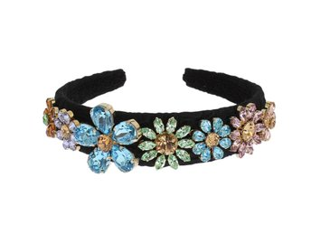 Dolce & Gabbana - Black Brocade Gold Crystal Floral Headband
