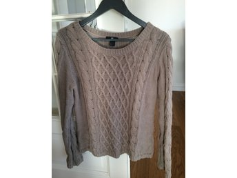 HM brun stickad tröja tjocktröja tjej dam stl M (Medium)