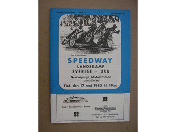 Program Speedway Landskamp Svergie-USA 17/5 1983 Norrköping
