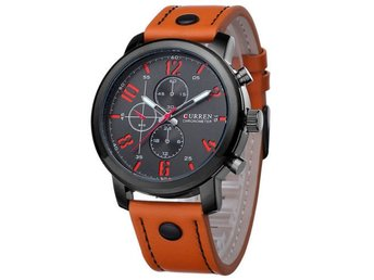 Fashion Curren Men's Brown Leather Band Black Dial Sport Quartz Army Wrist Watch