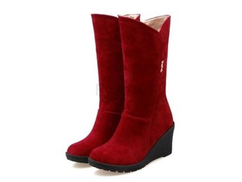 Dam Boots Botas Ladies Winter Warm Fur Shoes Woman Red 40