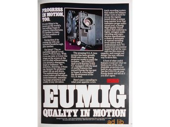 EUMIG SUPER 8 PROJECTOR - QUALITY IN MOTION, TIDNINGSANNONS Retro 1978