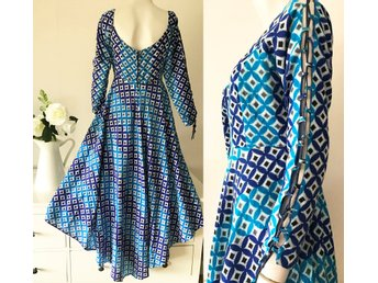 6c22ca8615a Retro fri frakt mönstrad aftonklänning blå turkos klänning bröllop bal M