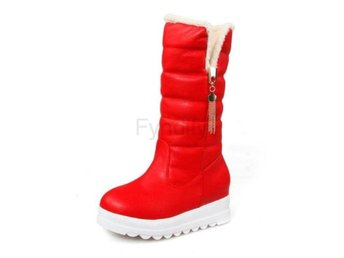 Dam Boots Half Short Fur Boots Thickened Fur Botas Red 40