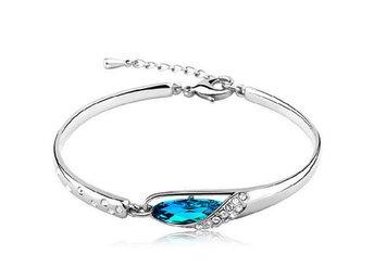 Fashion Women Silver Plated Charm Bracelet Jewelry Blue Crystal Chain Bangle - Govindapuram - Fashion Women Silver Plated Charm Bracelet Jewelry Blue Crystal Chain Bangle - Govindapuram