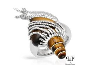 P & P Silver Tiger Gold & 925 Sterling Handmade Snail Shell Ring