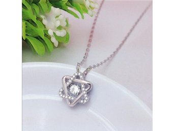 925 Sterling Silver Crystal David Star Necklaces Pendant Hot Sale Pure Silver J