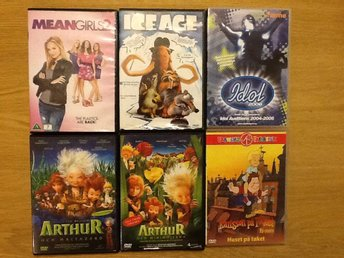 6 st Dvd filmer: Karlsson på taket, Arthur och minimojerna, ICE AGE, Mean Girls