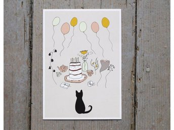 8 Birthday cards. Cake Party, illustration of a black cat and balloons. Card - Göteborg - 8 Birthday cards. Cake Party, illustration of a black cat and balloons. Card - Göteborg