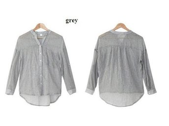 Womens linne skjorta GRÅ size XXL - Beijing - Womens linne skjorta GRÅ size XXL - Beijing
