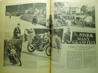 Ä.32 tidningssidor  The Motor Cycle 1948..Junior Manx GP m.m...Engelsk.