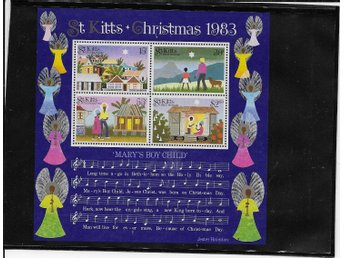"St Kitts Christmas 1983 block m noter till ""Mary´s Boy Child"" postfriskt"
