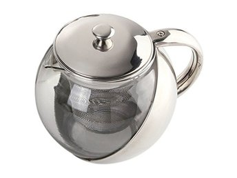 Modern Stylish Stainless Steel & Glass Teapot & LOOSE TEA LEAF INFUSER TEA POT