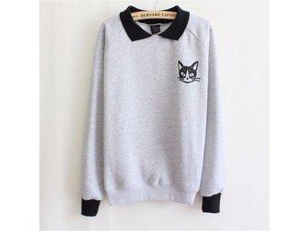 Sweatshirt collegetröja grå med svart krage, katt så fin och mjuk - Järfälla - Sweatshirt collegetröja grå med svart krage, katt så fin och mjuk - Järfälla