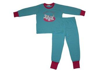 Pyjamas turkos/cerise med hund stl. 122/128 - Falun - Pyjamas turkos/cerise med hund stl. 122/128 - Falun