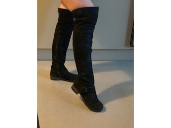 Billi Bi Knee high boots suede Svarta mocka Crocodile Strl 38 Märke designer