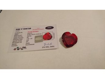 39.95 Ct Heart Carving Red Topaz GGL Certified - Alingsås - 39.95 Ct Heart Carving Red Topaz GGL Certified - Alingsås