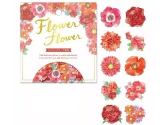 Flower lover - A pack of 40 Japan washitejp love gift sticker dekorationstejp