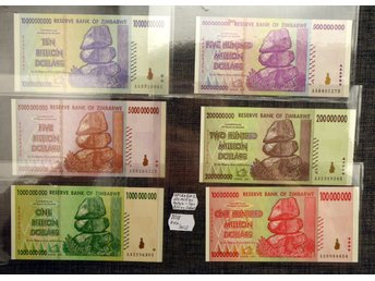 ZIMBABWE 100 MILLION DOLLARS - 10 BILLION DOLLARS 2008 6 EX OVIKTA