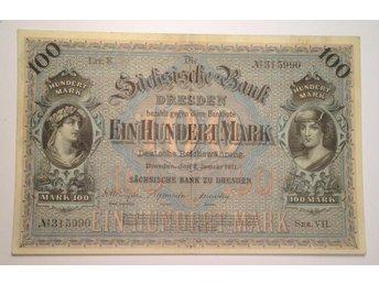 WSED - TYSKLAND - Sächsische Bank - 100 Mark 1911 - Uppsala - WSED - TYSKLAND - Sächsische Bank - 100 Mark 1911 - Uppsala