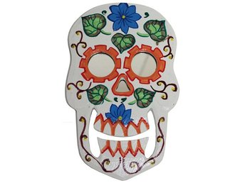Floral Skull Mirror Eyes Handmålade Halloween Wall Hanging Home Decor Gift