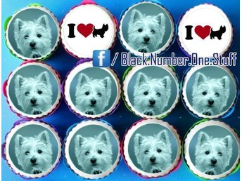 West highland white terrier tårtoblater - Tårtbild - Cupcake toppers