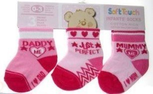 "NYA Soft Touch STRUMPOR ""Love Mummy and Daddy"" Hearts ROSA 0-3 mån 3-pack"