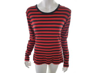 Uno Long sleeve Blouse Size M Red 100% Cotton stripes