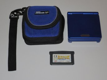 Blå Gameboy Advance SP med Rayman Advance och väska
