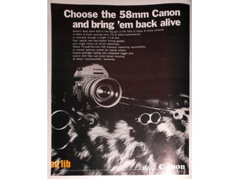 CANON THE 58mm AUTO ZOOM 814 CANON SUPER 8 TIDNINGSANNONS Retro 1968