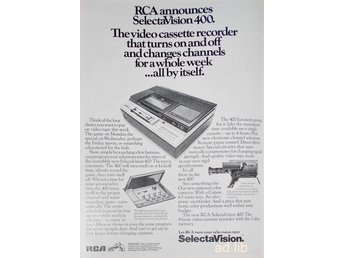 RCA SELECTA VISION 400 VIDEO SYSTEM, TIDNINGSANNONS Retro 1978
