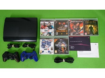 Playstation 3 Konsol 12GB HDD Med 2 HK & 6 Spel  ps3